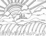 Coloring Mountains Adult sketch template