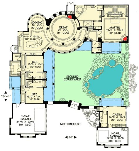 Courtyard Floor Plans by Courtyard Plan With Guest Casita 16312md 1st Floor