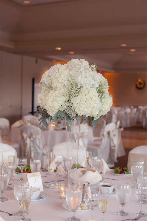 tall white hydrangea  babys breath wedding centerpiece