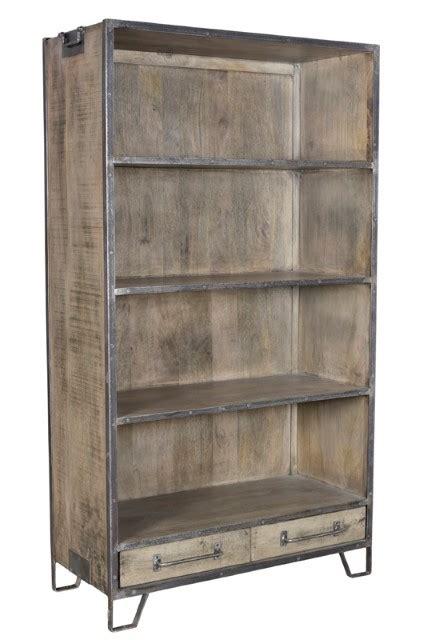 iron and wood bookcase iron and wood bookshelf nadeau atlanta
