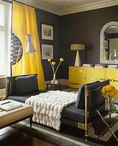 yellow curtains with grey walls for the home juxtapost With yellow curtains grey walls