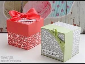 Anleitung Schachtel Falten : anleitung box mit deckel 6x6x6 cm stampin 39 up youtube verpackungen pinterest box ~ Yasmunasinghe.com Haus und Dekorationen