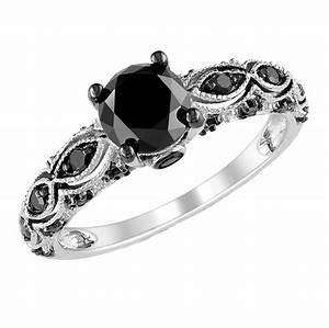 Ladies Black Diamond Ring Wedding Promise Diamond