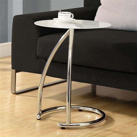 frosted glass end table chrome metal accent table with frosted tempered glass