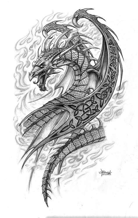 dragon drawings celtic dragon  loren  deviantart