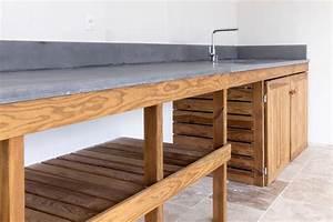 cuisine d39ete meuble bois massif et plan de travail With cuisine d ete en bois