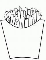 Coloring Fries Foods Meals Kindergarten sketch template