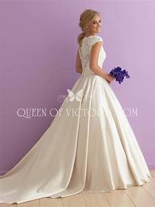ivory satin and lace cap sleeve traditional ball gown With satin lace wedding dress