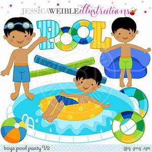 Boys Pool Party V2 Cute Digital Clip Art - Commercial Use ...