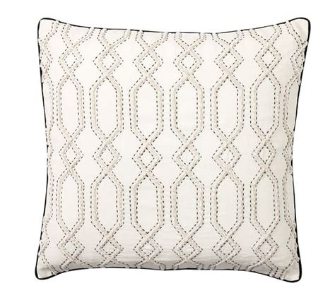 Snowflake Beaded Applique Pillow Cover Pottery Barn by Maxine Embroidered Pillow Cover Pottery Barn