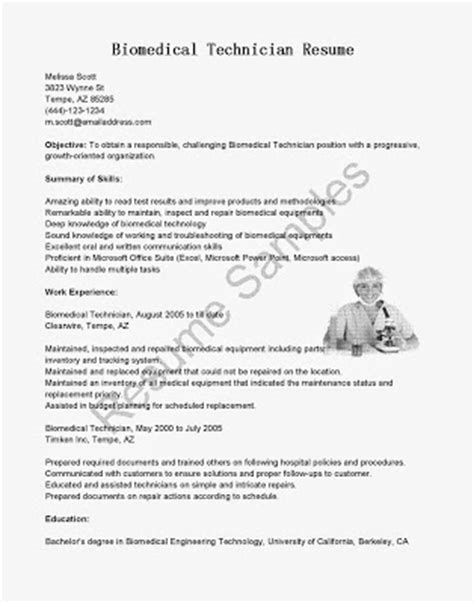 hospital biomedical engineer resume resume sles biomedical technician resume sle