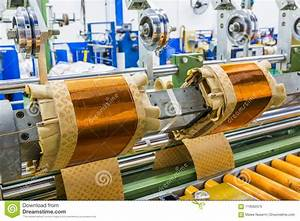 Rectangular Coils For Distribution Transformers On Winding Machine Stock Image