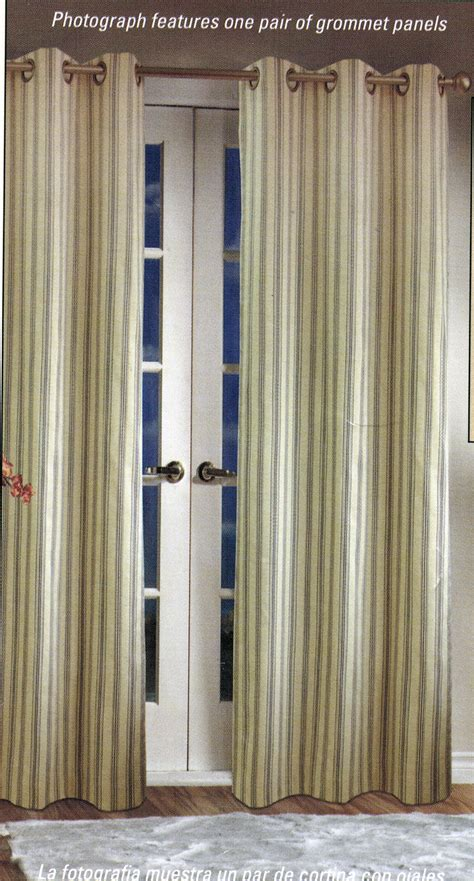 Insulated Drapes Clearance - weathermate stripe insulated grommet panel pair