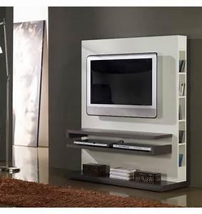 Meuble Deco Design : meuble tv design gris et blanc laqu deco et saveurs ~ Teatrodelosmanantiales.com Idées de Décoration