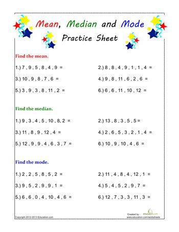 find the median and mode worksheets math and