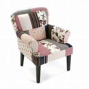 Fauteuil Bois Et Tissu : fauteuil romantique en tissu patchwork color et pieds bois 72x71x89cm ashley ~ Teatrodelosmanantiales.com Idées de Décoration