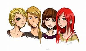 Group Of Four Friends Comm by moonvixen8 on DeviantArt
