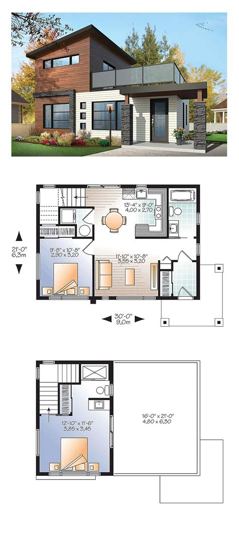 Modern House Layout by Contemporary Modern Style House Plan With 924 Sq Ft 2 Bed