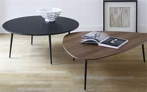 Table Basse Noire Ronde : table basse ronde noire table basse dessus verre maisonjoffrois ~ Teatrodelosmanantiales.com Idées de Décoration