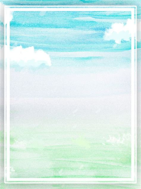 Pure Hand Painted Blue Sky With White Clouds Watercolor