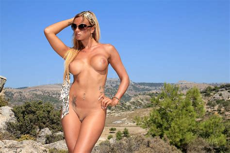 Porn Star Ashley Bulgari Posing On Nude Beach Of
