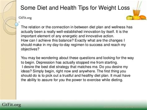 Some Diet And Health Tips For Weight Loss
