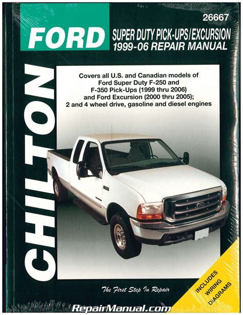free service manuals online 1993 ford f250 lane departure warning chilton ford super duty f 250 f 350 1999 2006 ford excursion 2000 2005 repair manual