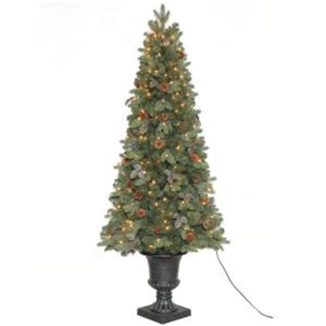 christmas tree at home depot home accents 6 5 ft greenland potted artificial 6160
