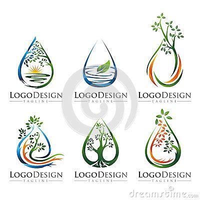 tree water logo vector set  stock illustration image