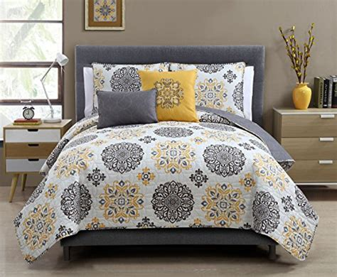 5 Pc Grey And Yellow, King Size Quilt Set By Karalai