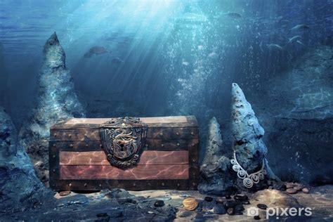 closed treasure chest underwater wall mural pixers