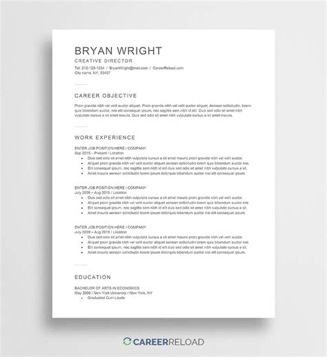 Free Resume by Free Word Resume Templates Free Microsoft Word Cv Templates