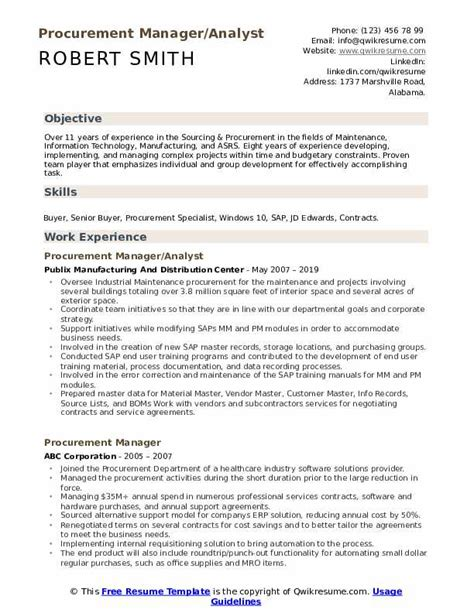 procurement manager resume samples qwikresume