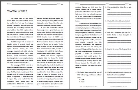 war    printable american history reading