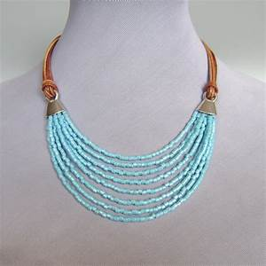 Turquoise beads leather necklace ancient Egypt jewelry ...