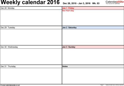 calendar templates weekly weekly calendar 2016 uk free printable templates for pdf