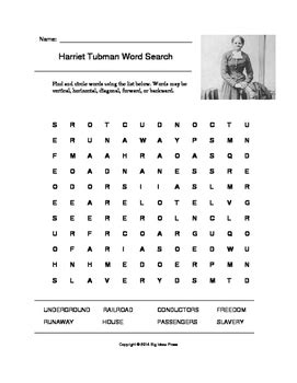 Harriet Tubman Word Search (grade 5) By Big Ideas Press Tpt