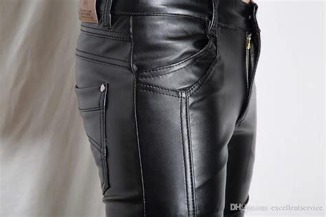 2019 Brand New Mens Fashion Black Leather Pants Faux