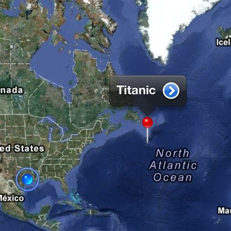 Titanic Boat Location by Titanic Just Left Of That Little Red Pin Head Is My Home