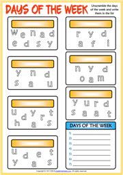 days   week esl printable vocabulary worksheets