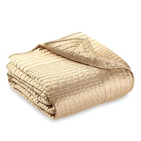 Gold Coverlet by Vince Camuto Crocodile Coverlet In Gold Bed Bath Beyond