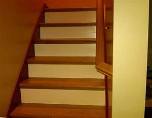 Interior Simple Home Stair Design With Brown Oak Tread