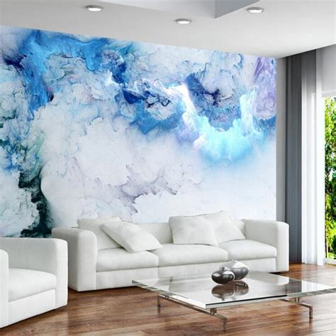 abstract mural blue cloud 3d wallpaper for living room tv
