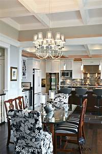 Open, Layout, Contemporary, Traditional, Dining, Room, And, Kitchen, White, Gray, And, Black, Palette