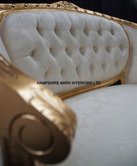 chaise longue salon a ended gold ivory louis ornate chaise