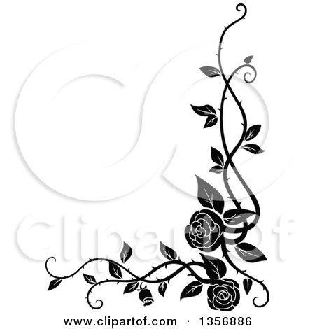 clipart   black  white corner floral rose vine