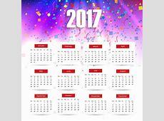 Colorful 2017 calendar Vector Free Download