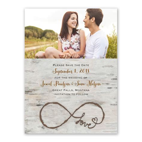love  infinity save  date card invitations  dawn