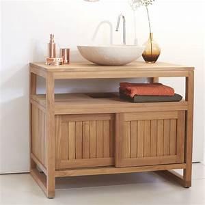 meuble salle de bain bois exotique With meuble evier salle de bain