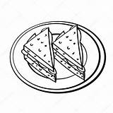 Drawing Dish Coloring Sandwiches Cartoon Simple Bread Loaf Line Sketch Vector Drawn Hand Illustration Picnic Getdrawings Isolated sketch template